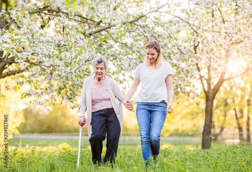 Slika na platnu Elderly grandmother with crutch and granddaughter in spring nature