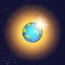 Christian Seven Days Of Creation Concept. Day Four, The Stars, The Sun And The Moon. Genesis. Bible Creation Story. Earth Illustration Cartoon With Sun And Stars Behind In Dark Space. Vector.