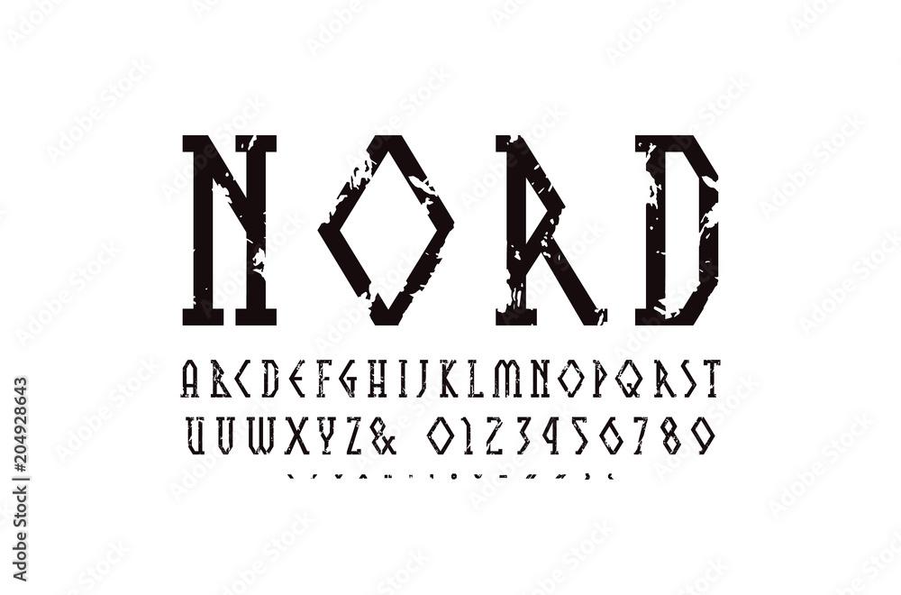 Fotografie, Obraz  Decorative geometric narrow slab serif font