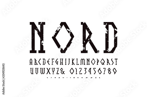 Decorative geometric narrow slab serif font Canvas Print