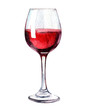 canvas print picture - Glass of red wine isolated on white background, watercolor illustration