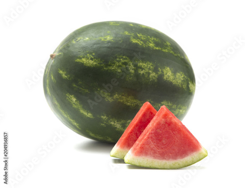 Fresh Seedless Summer Watermelon on a White Background