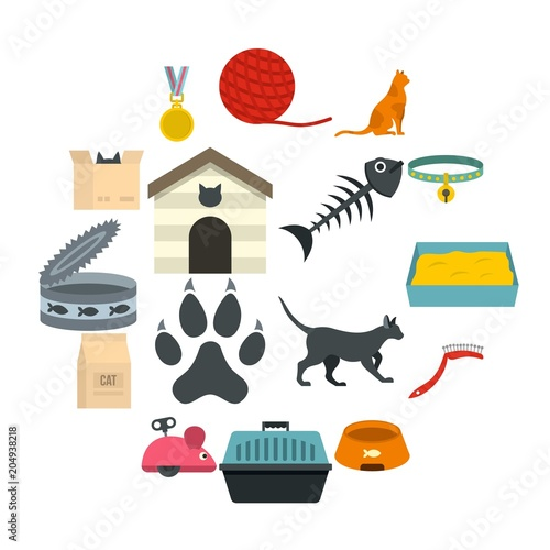 Obraz Cat care tools icons set in flat style - fototapety do salonu