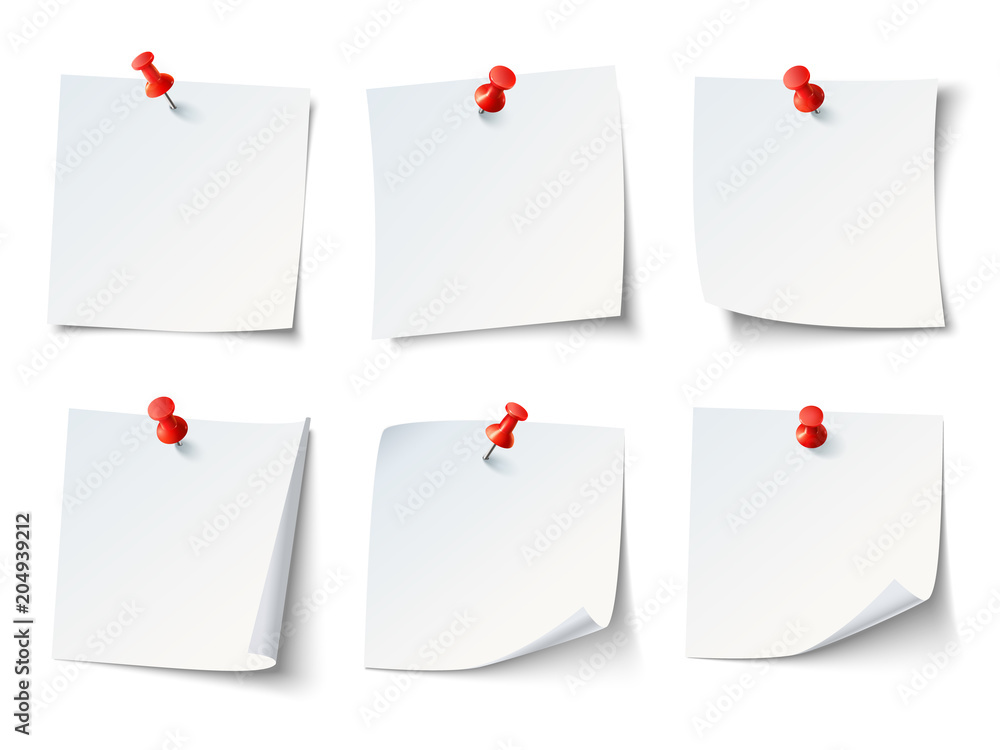 Fototapeta White paper notes on red thumbtack. Top view note sticker with pins vector set