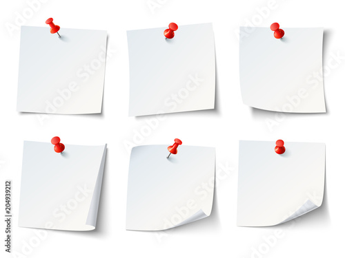 Obraz White paper notes on red thumbtack. Top view note sticker with pins vector set - fototapety do salonu
