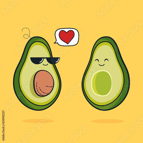 a66cdad5 Illustration cartoon funny avocado icon with black sunglasses, cute  characters design lover for valentines day avocado concept with vector line  art, ...