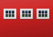 Red Barn Facade With Three Windows