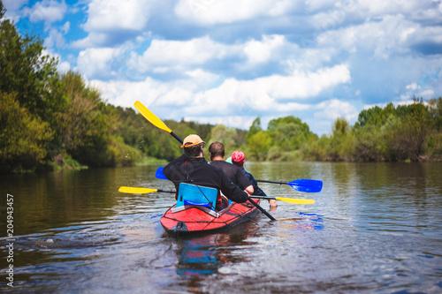 Pinturas sobre lienzo  Kayaking on beautiful nature at summer sunny day