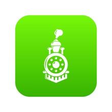 Locomotive Icon Green Vector