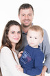 lovely family happy with young mother and boy son handsome father at home