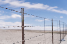 Barb Wire Fence In The Dry Des...