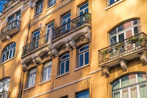 Staande foto Oude gebouw Beautiful facade from ancient european style building.