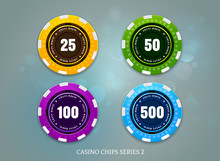 Casino Coins Chips Set On Boke...