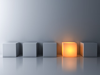 Stand out from the crowd and think different concepts , One glowing box or cube standing among white dim cubes on dark white background with reflections and shadows . 3D rendering.