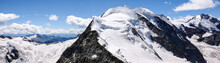 Panoramic View Of The Val Poschiavo And Piz Palu In The Bernina Mountains As Seen From The Summit Of Piz Cambrena