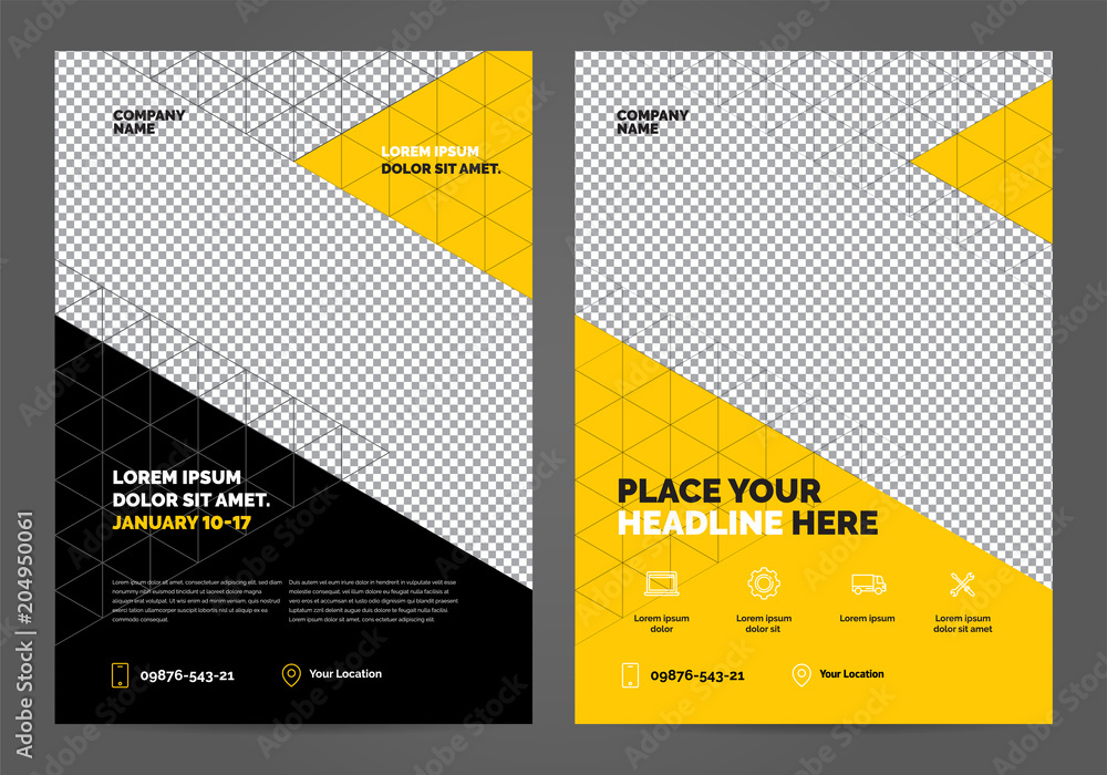 Fototapety, obrazy: Geometry yellow Brochure Layout template, cover design background, annual reports. Can be adapt to Annual Report, Poster, Flyer, Banner.