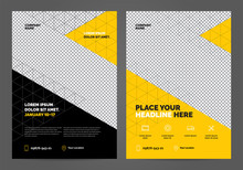 Geometry Yellow Brochure Layout Template, Cover Design Background, Annual Reports. Can Be Adapt To Annual Report, Poster, Flyer, Banner.