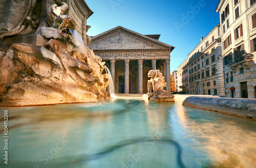 Fountain on Piazza della Rotonda with Parthenon behind, Rome, Italy