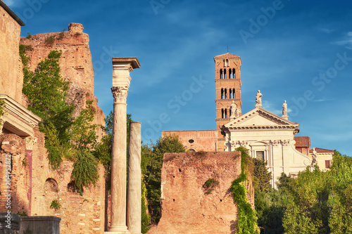 Ancient church and columns, part of Forum Museum in Rome, Italy Canvas Print