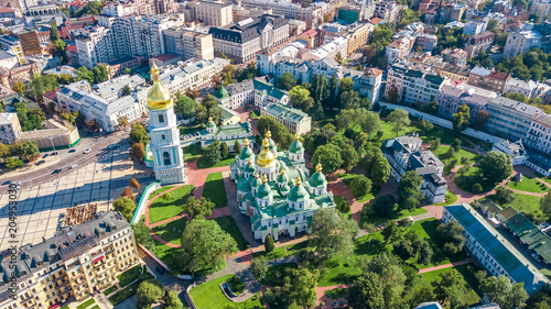 Foto op Canvas Historisch geb. Aerial top view of St Sophia cathedral and Kiev city skyline from above, Kyiv cityscape, capital of Ukraine