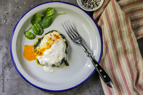Florentine eggs with pureed spinach Canvas Print