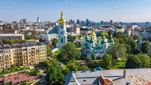 In de dag Historisch geb. Aerial top view of St Sophia cathedral and Kiev city skyline from above, Kyiv cityscape, capital of Ukraine