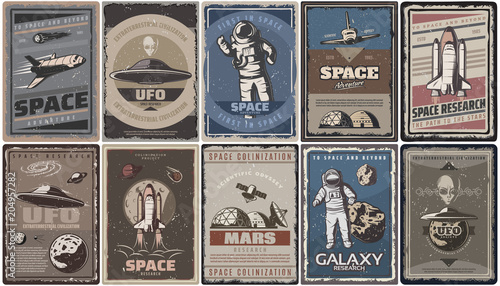 Fotomural Vintage Colored Space Posters