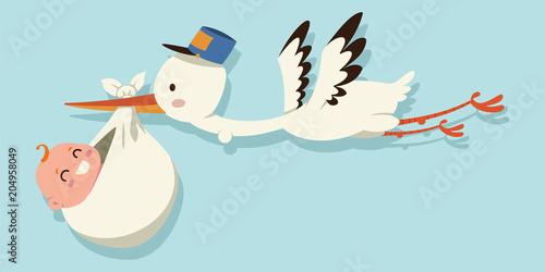 Cute cartoon stork and baby Fototapeta