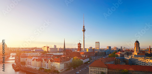 Photo  Skyline Of Berlin in Germany on a sunset, toned image