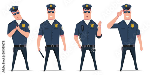 Fotografía  Police officer vector set