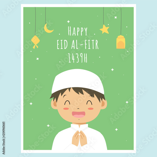 graphic about Eid Cards Printable named Pleased Eid Mubarak greeting card, delighted small muslim boy