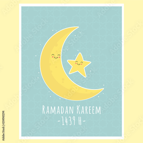 picture relating to Ramadan Cards Printable named Eid Al-Fitr Ramadan Kareem greeting card, lovable moon and star
