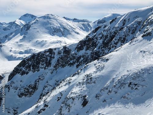 Montage in der Fensternische Alpen Amazing winter landscape from Todorka peak, Pirin Mountain, Bulgaria
