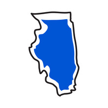 Isolated Map Of The State Of Illinois