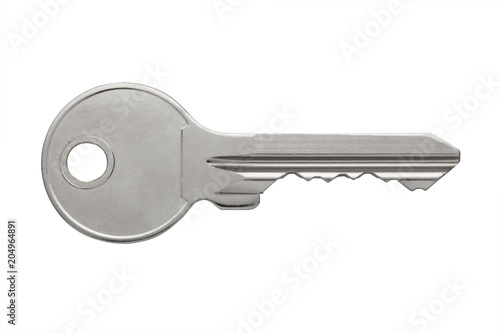 Fotografía  metal glossy apartment keys isolated on white background, flat key