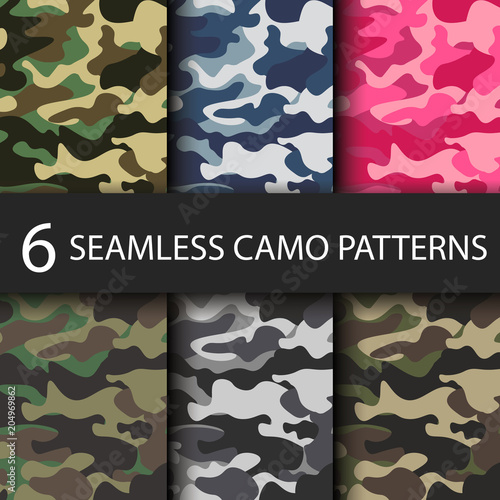 Photo  Set of 6 pack Camouflage seamless patterns background with black shadow