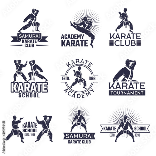 Design of martial sport labels set. Monochrome badges set isolate on white Wall mural