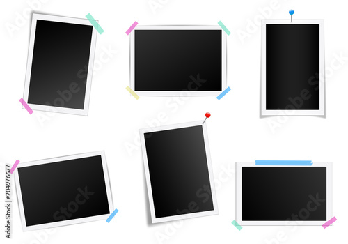 Obraz Creative vector illustration set of square photo frame with shadows isolated on background. Retro art design. Realistic mockups. Color adhesive tapes, push pins. Abstract concept graphic element - fototapety do salonu