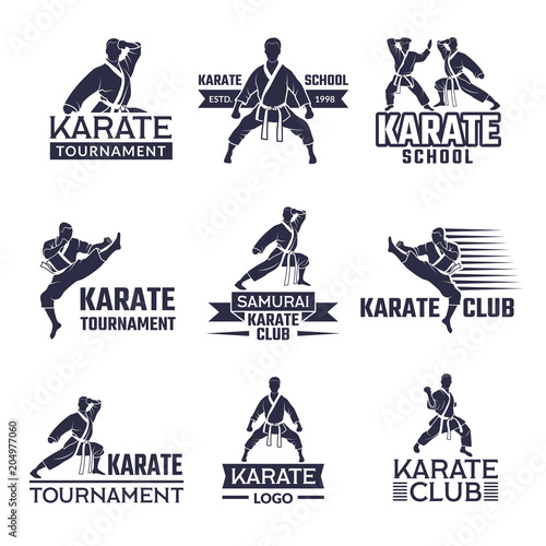 Sport labels set for fighting club. Karate and martial arts Wall mural