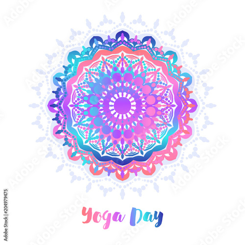 Yoga Bright Background Template With Mandala In Acid Color For Banners Sites Of Spiritual Development Posters Buy This Stock Vector And Explore Similar Vectors At Adobe Stock Adobe Stock
