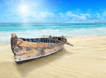 Old, Wooden Boat On The Shore.