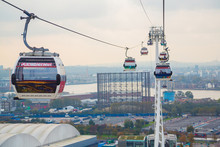 The One Kilometre, 0.63 Mile, Long Cable Car Link Travels 90 Metres, Above The River Thames From The Greenwich North Peninsula To The Royal Docks In London, UK.
