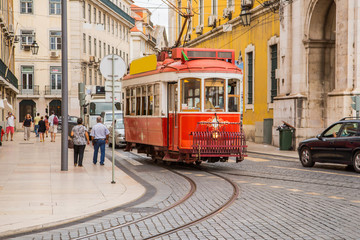 Portugal - Old red beautiful touristic tramway in Lisbon