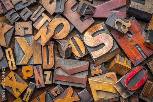 Fototapety, obrazy: letterpress wood type blocks background