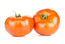 Two Red Tomato With Vine Ends ...