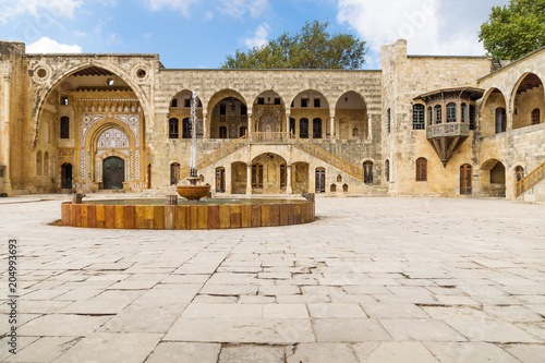 Leinwand Poster Courtyard with fountain at Emir Bachir Chahabi Palace Beit ed-Dine in mount Leba