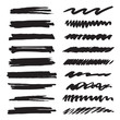 Set of brushes. Collection of black icons. Texture and background.