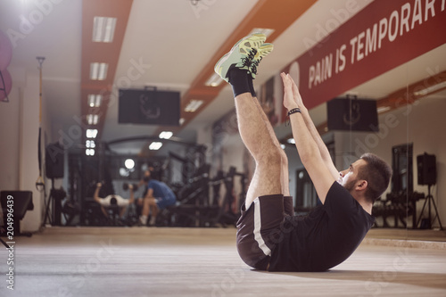 One Young Man Ordinary Average Man Exercise Abs Arms