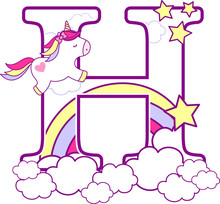 Initial H With Cute Unicorn An...