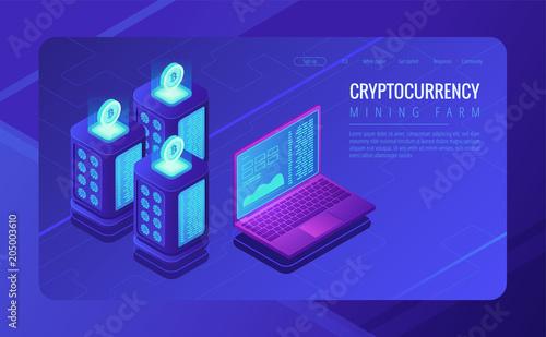 Isometric Mining Farm Landing Page Concept Bitcoin Mining Farm -